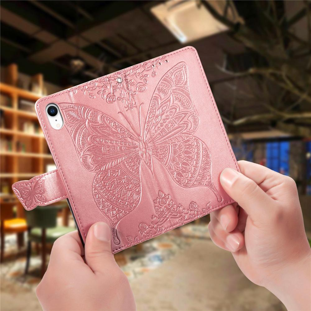 3D Fashion Butterfly Flip Case for Apple iPhone 6S 7 8 Plus XS XR XS Max Wallet Cover Bag Holder Phone Case in Flip Cases from Cellphones Telecommunications