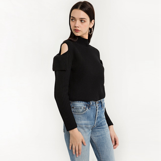 038a6b9a672de Black long sleeve cold shoulder mock neck sweaters for women ladies autumn  elegant slim fit high neck ribbed knitwear pullover