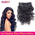 Loose wave Clip In Extensions a Lot Clip In Human Hair Extensions Virgin Indian Hair 100g-120g Clip In Hair Extensions7Pcs/10Pcs