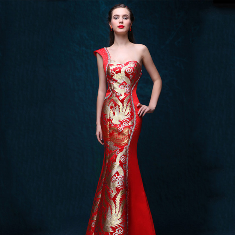 One Shoulder Dress Evening Gowns Red Qipao Cheongsam Traditional Chinese Dress Robe Chinoise Modern Women Oriental Customized