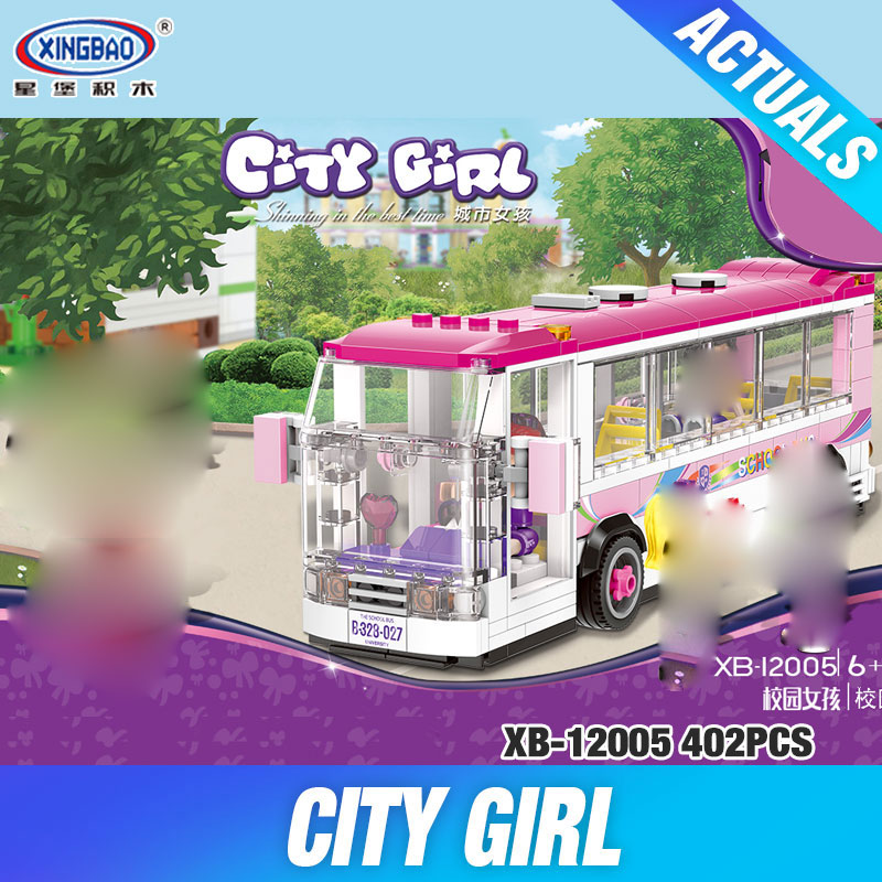 XINGBAO 12005 New 402Pcs City Girl Series The School Bus Set Building Blocks Bricks Educational Funny Toys Model For Kids Gifts lepin 02020 965pcs city series the new police station set children educational building blocks bricks toys model for gift 60141