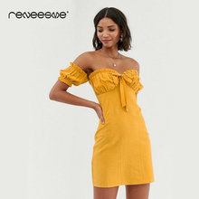 2019 new summer women dress sheath solid color short sleeve strapless mini ladies dresses bow tie back zipper open back vestidos random flamingos bow tie back circle dress