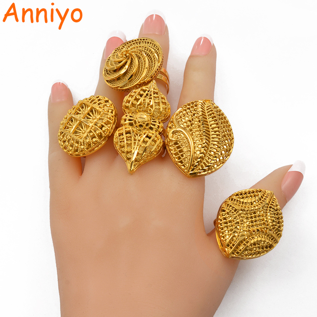 Anniyo Resizable BIG Ring for Women African Jewelry Ethiopian Gold Color Wedding Bigger Ring Openable  #197506