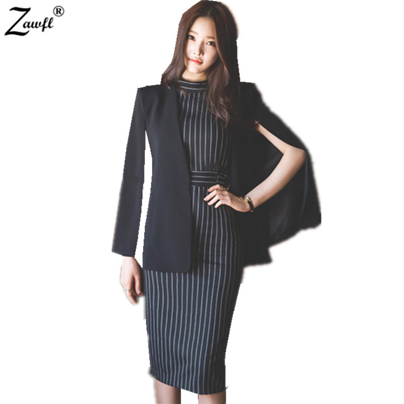 ZAWFL High Quality 2 Piece Set Office Dress Suit New 2019 Fashion V neck Sexy Slim Elegant Women Bodycon Pencil Dress Suit-in Women's Sets from Women's Clothing on AliExpress - 11.11_Double 11_Singles' Day 1