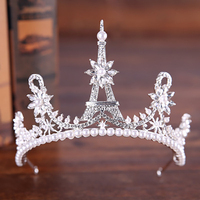 Latest Tower Design Princess Wedding Tiara Crown Simulated Pearl Bride Rhinestone Hairbands For Women Hair Jewelry