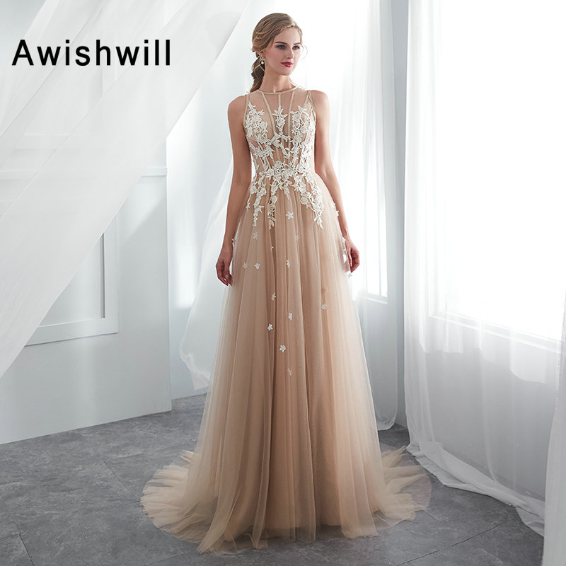 Elegant   Prom     Dresses   Champagne Color Sleeveless A Line Party   Dresses   Vestido De Festa Lace Tulle Cheap Long   Prom   Formal Gowns