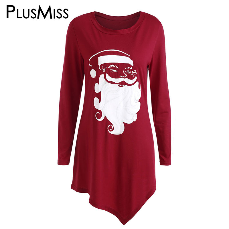 PlusMiss Plus Size Christmas Santa Claus Printed T Shirts ...