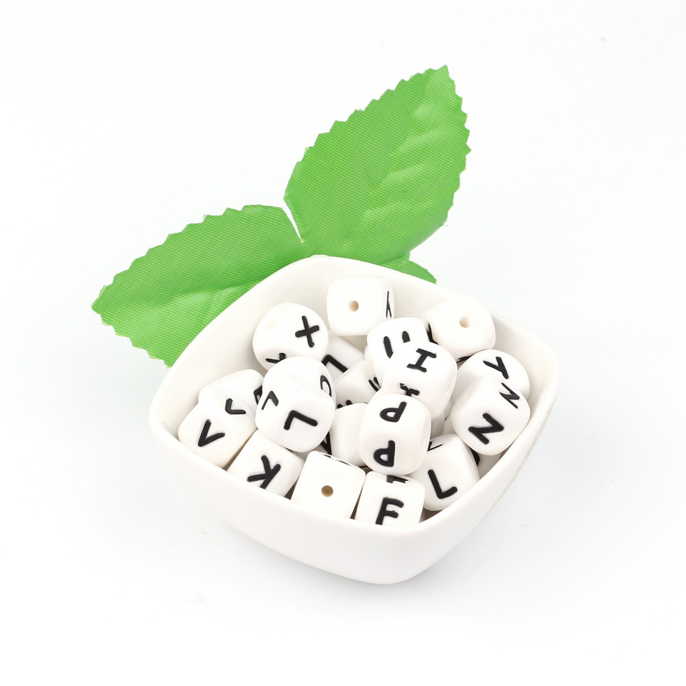 TYRY HU 500Pcs 12mm English Alphabet Letter Bead DIY Baby Teething beads Teether Toy Name Necklace