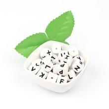 TYRY. HU 500 PCS 12 มม.ตัวอักษรภาษาอังกฤษลูกปัด DIY เด็ก Teething ลูกปัด Teether ของเล่นชื่อสร้อยคอซิลิโคนเกรดอาหารลูกปัด