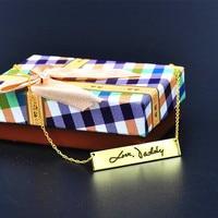 Gold Bar Hand Stamp Handwriting Custom Words Engraved Signature Bar Personalized Memorial Jewelry