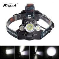 ANJOET פנס 3 פנס T6 LED 180 עיצוב התאמת זווית באופן שרירותי 2R5 LED פנס דייג אור + 2*18650 סוללה