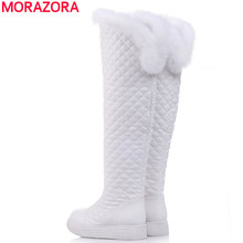 HOT sale women's winter warm snow boots plush inside low heels knee high boots pointed toe pu leather zip shoes