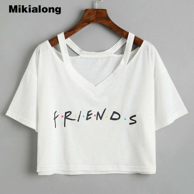 a0a850623cf45 Mikialong Crop Top Summer Best Friends T Shirt Women Harajuku Short Sleeve  Tops White Graphic Tees Women Kawaii Tee Shirt Femme