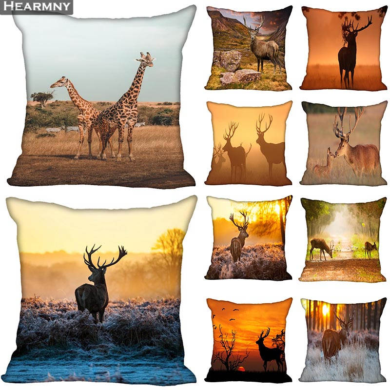 Custom Decorative Pillowcase Deer Art Square Zippered Pillow Cover 35X35,40x40,45x45cm(One Side)