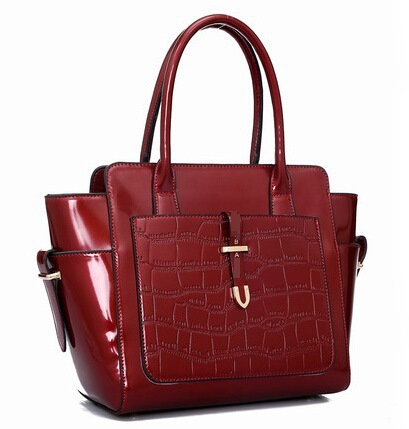 ФОТО Women Hand Bag Patent Leather Alligator Bag Designer Handbags Shoulder Diagonal Bags Fashion Red Black handbags Sac Famme