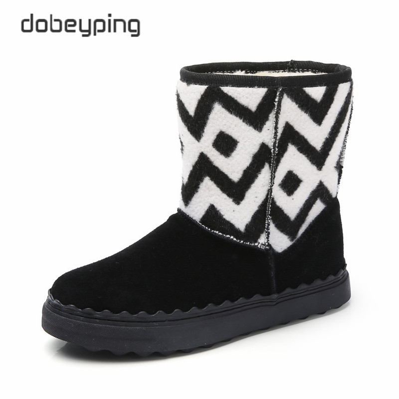 2017 New Sewing Women's Snow Boots Plush Inside Winter Shoes Ladies Keep Warm Female Ankle Boots Slip-On Casual Shoes Women new winter children snow boots boys girls boots warm plush lining kids winter shoes