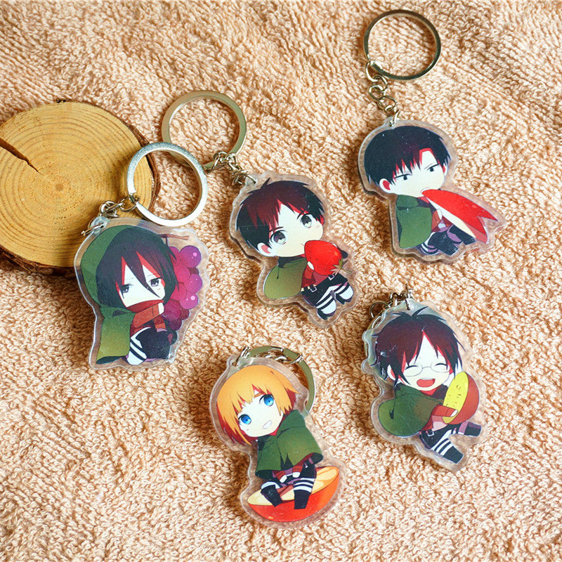 5pcs/set Anime Cute Fruit Eater Attack on Titan Ackerman Armin Eren Jaeger Mikasa Doubleside Keychain Keyring Pendant llavero