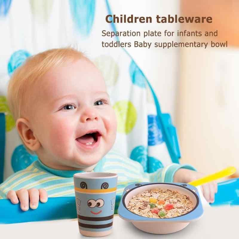 3/5pcs น่ารักเด็กทารกแรกเกิดทารกการ์ตูนสัตว์แผ่นให้อาหารชุดย่อยสลายได้ไม้ไผ่ชามถ้วยส้อมชุดช้อน