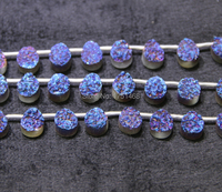 Fashion Necklace for 2015 Blue Titanium Druzy Stone Quartz Teardrop Bead Pendants Top Drilled Drusy Jewlery Making