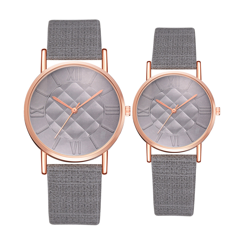 Couple Watches 2 Pcs Round Dial Analog Simple Womens Accessories Leather Strap Watch Relogio Masculino 1303