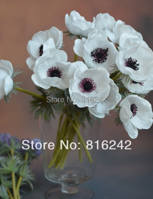 8 colors 17 real touch flowers whitepurple anemones pu flowers 17 real touch flowers whitepurple anemones pu flowers with stems more higher quality than silk anemone in artificial dried flowers from home garden mightylinksfo