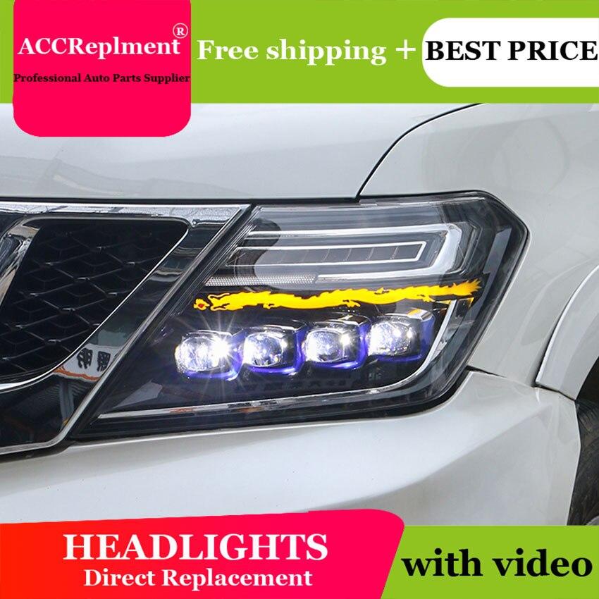 Auto Stile di Illuminazione HA CONDOTTO LA Testa Della Lampada per Nissan patrol fari a LED 2012-2019 segnale di angelo occhio drl H7 hid lente Bi-Xeno fascio basso