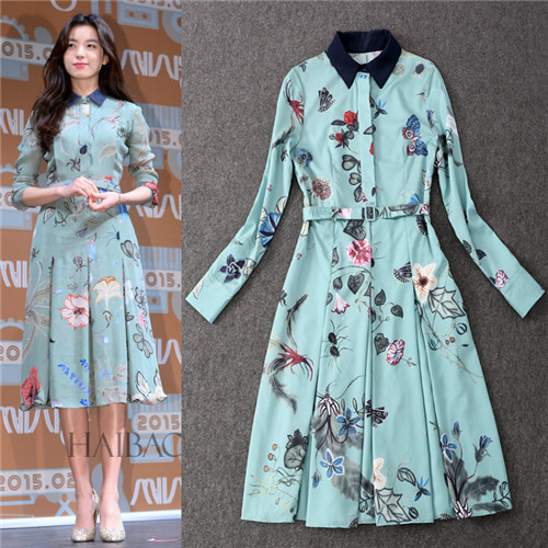 2945e82cdcfa women long sleeves midi dresses shirt collar dress catwalk brand spring  frocks print flower butterfly grace fit and flare dress
