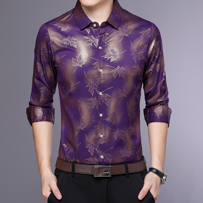 MIACAWOR Original Men Shirt Fashion Print Dress Shirt Slim Fit Camisa Masculina Full Sleeve Casual Men Shirt C413 5
