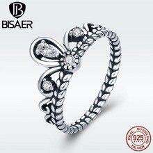 BISAER подлинные 925 пробы Серебряная корона принцессы свадебные женские CZ кольца для женщин обручальные ювелирные изделия Anel S925 ECR337