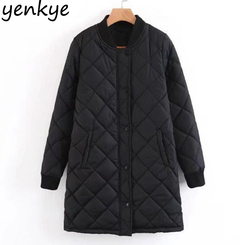 Autumn Women Quilted Padded Coat Solid Color Stand Collar Long Sleeve Zipper Casual Loose Winter Jackets Long   parka   LT8790