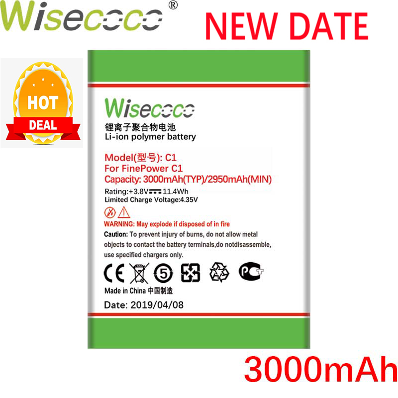 Wisecoco FinePower C1 3000mAh 3.7V Battery For C 1 Mobile Phone Replacement+ Tracking Number