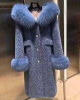Роскошный меховой воротник лиса зимняя куртка для женщин манто femme hiver Дамы velvet норковые abrigo mujer 2018 натуральный мех парка длинное пальто