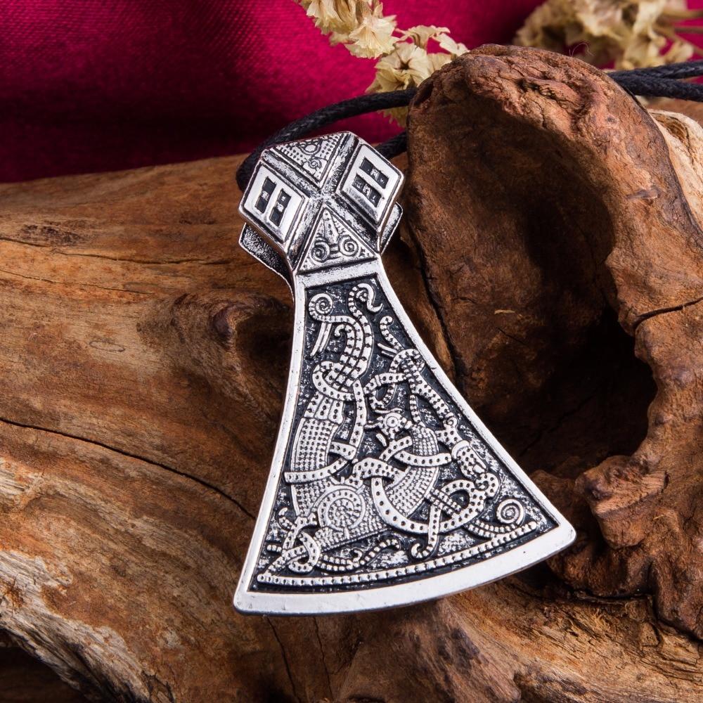Dawapara Viking Axe Privjesak Ogrlice Nakit Mammen Goth Muški - Modni nakit - Foto 2