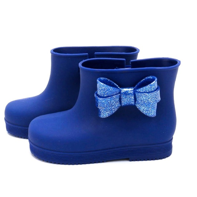 2016 Girls Bow Boots Children Princess Shoes Toddler Kids Soft Rainboots Waterproof Antislip Shoes for Girls 5 colors Avaliable