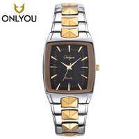 Men Watch ONLYOU Brand Luxury Glow Square Clock Stainless steel Strap Sport Wristwatch Lover's party Horloges Vrouwen Free Ship