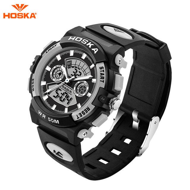Marca de luxo hoska men sports relógios led relógio digital militar relógios de pulso à prova d' água ao ar livre ocasional relogio masculino hd006