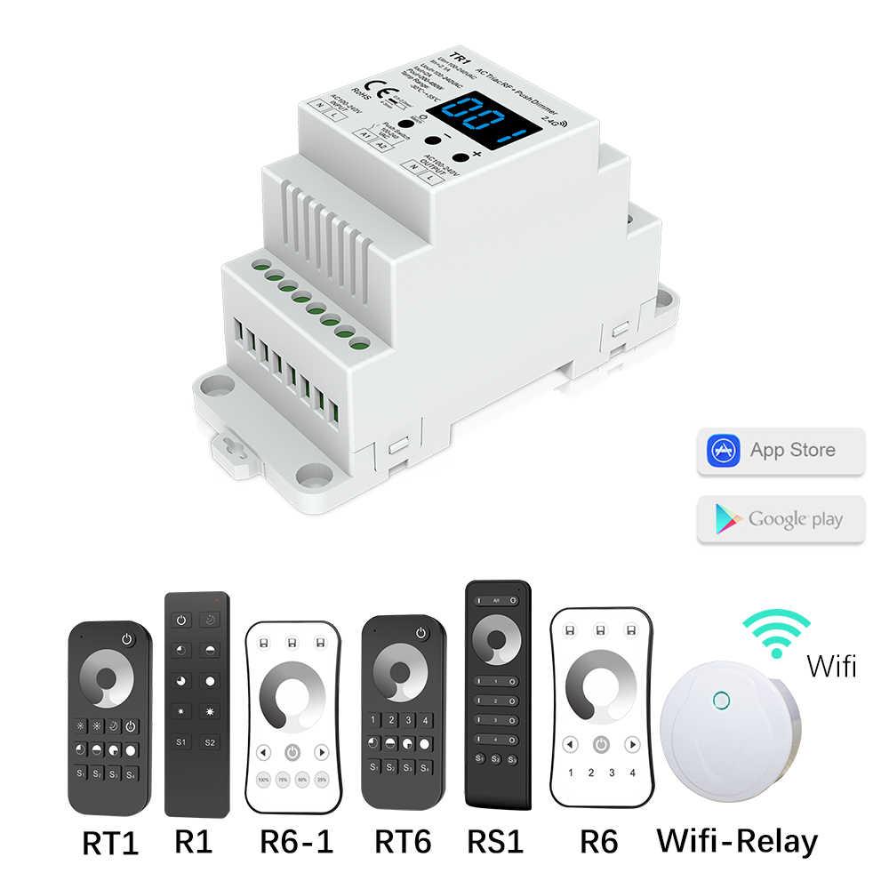דימר LED 220 V 230 V 110 V AC טריאק אלחוטי Wifi RF Dimmable לדחוף מתג עם 2.4G מרחוק דימר מתג מסילת DIN LED מנורת הנורה