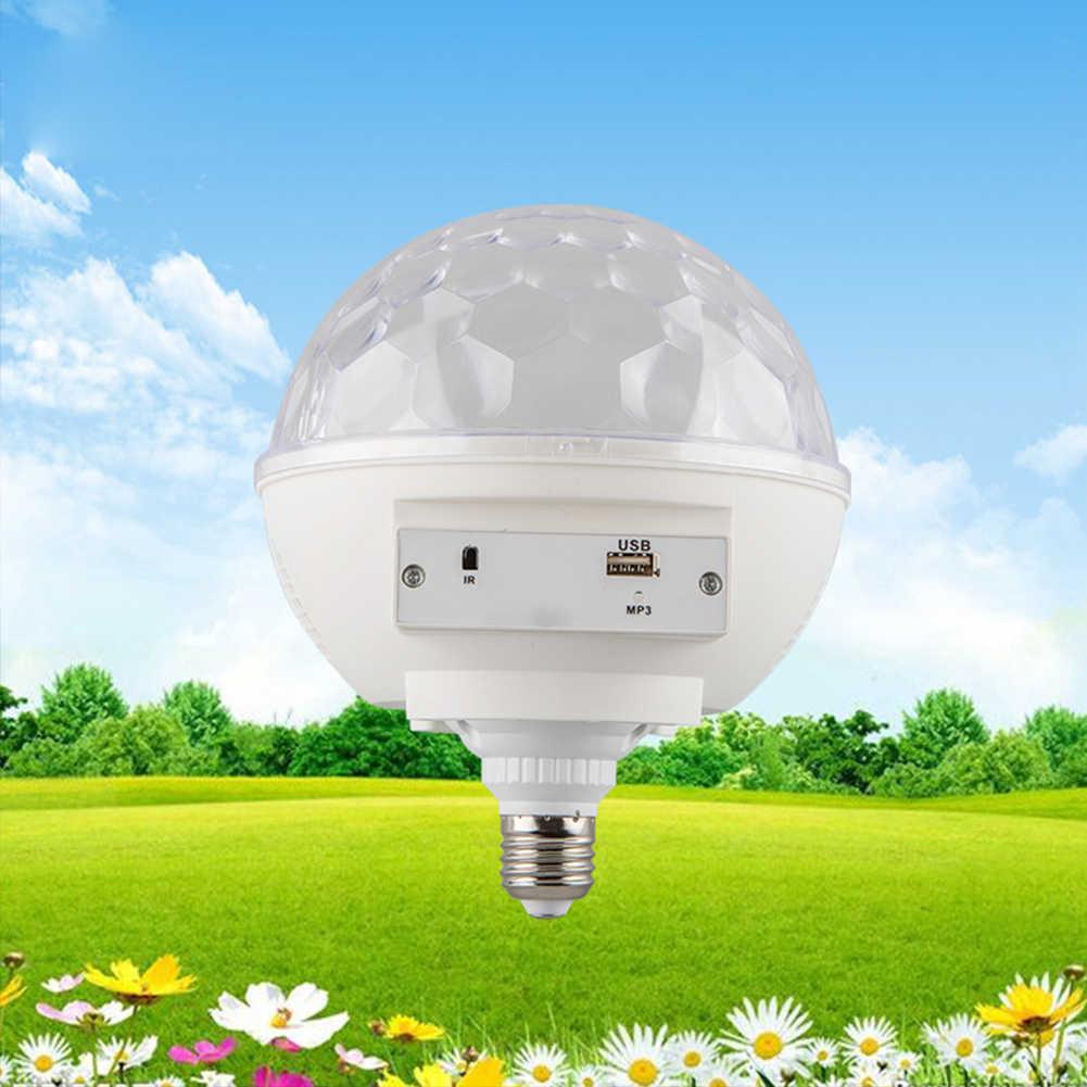 Цветная (RGB) Вращающийся Спальня USB кристалл магический шар сценический свет атмосферу небольшой вечерние диско Bluetooth светодиодный домашний DJ звук Управление E27