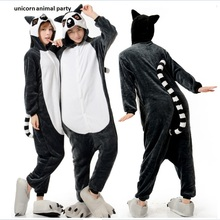 New Lemur Long Tail Monkey Adult Onesie Unisex Pajamas Halloween Christmas Party Costumes
