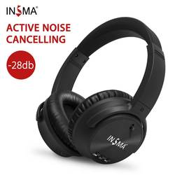 INSMA ANC bluetooth Headset Active Noise Cancelling Wireless Headphone with Microphone Earphones Deep Bass Music for PC Phones