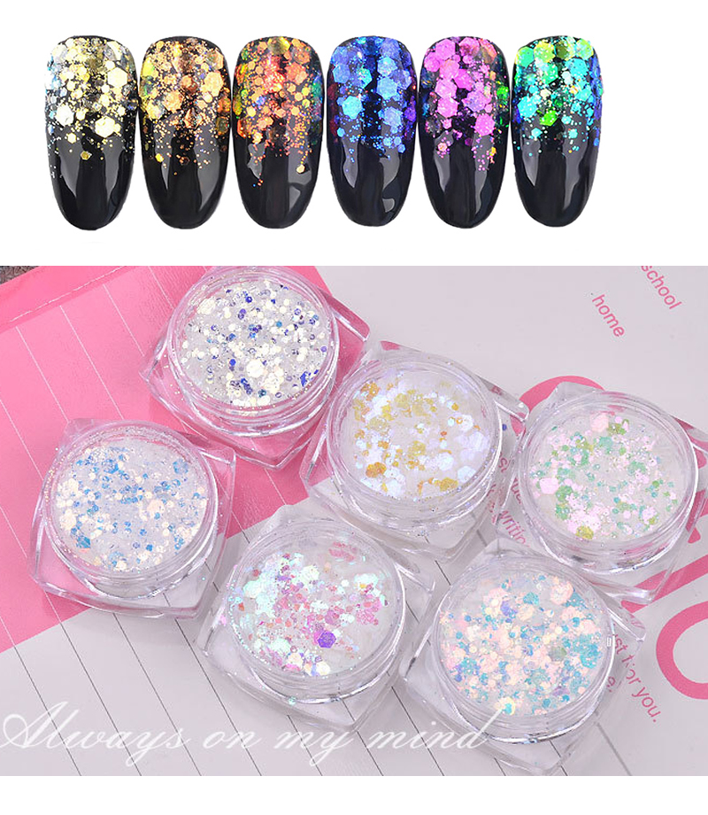 Glitter mix quot Aurora quot iridescent hexagonal nail art rainbow resin epoxy gift Christmas jewelry embellishments 6 Boxes in Nail Glitter from Beauty amp Health