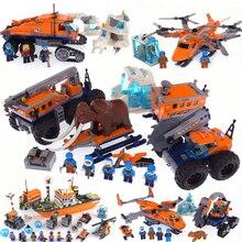 Совместимость с legoing Арктический город снег база лагерь Строительные блоки мини кирпичи цифры Модель развивающие игрушки подарки для детей