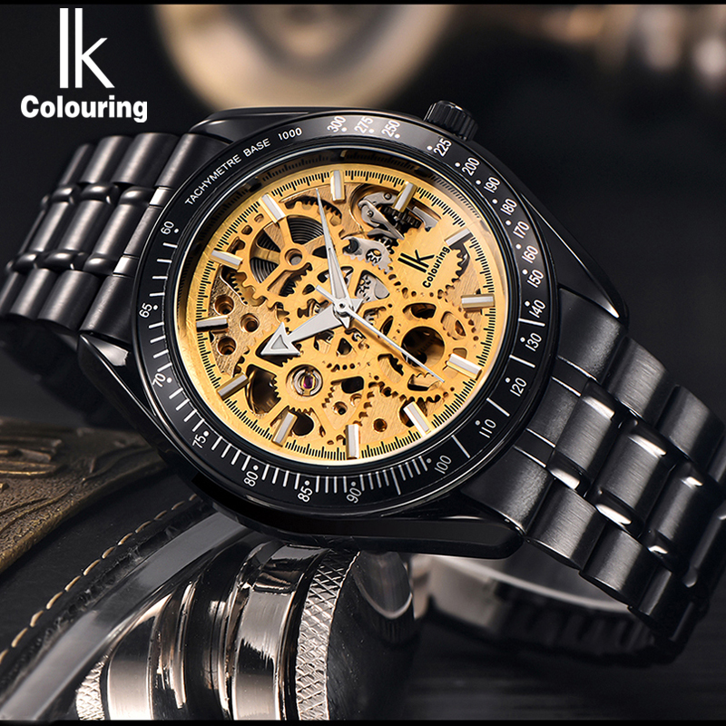 IK colouring Full Steel Luminous Automatic Mechanical font b Watches b font Men Brand Luxury Transparent
