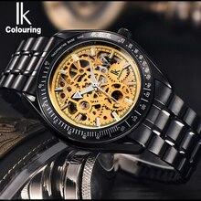 IK colorantes Acero Lleno Luminoso Mecánico Automático Relojes Hombres Marca de Lujo Transparente Hollow Esqueleto Vestido Reloj Militar