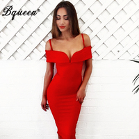 Bqueen Women S V Slash Neck Off Shoulder Knee Length Bandage Club Dress Sexy Summer Dress