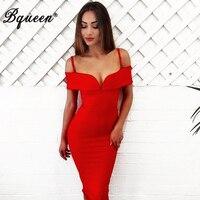 Bqueen Women S V Slash Neck Off Shoulder Knee Length Bandage Club Dress Sexy Summer Dress
