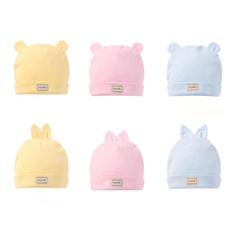 Anak-anak Lucu Hat Cap dengan Lap Permen Warna Solid Anak Laki-laki Perempuan Bayi Beanies Topi Kapas Lahir Topi Bayi Oto Balita bayi Topi