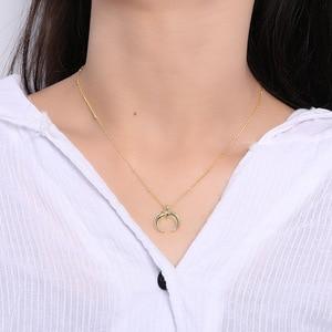 Image 3 - Silvology 925 Sterling Silber Gold Mond Crescent Anhänger Halskette Kreative Textur Elegante Weibliche Halskette 925 silber Schmuck