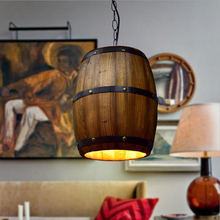 Modern Retro wood pendant lamp LED loft Wine barrel hanging vintage lights for dining room living restaurant