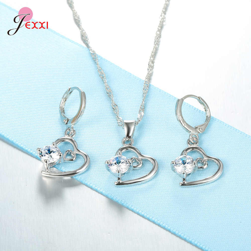 Women Jewelry Set 925 Sterling Silver  Austrian Crystal Pendant Necklace/Earrings Double Hearts Hollow Design Wholesale
